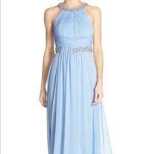 Eliza J Embellished Shirred Chiffon Gown Lt Blue 8